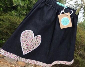 Girls Denim and Applique Skirt