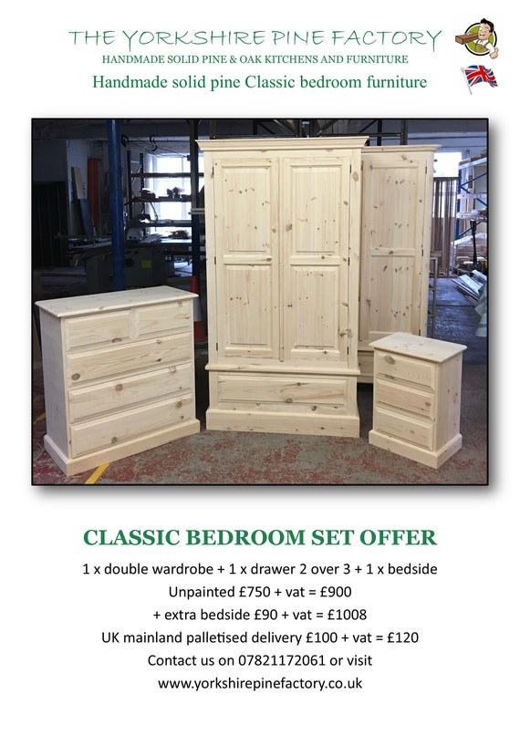 CLASSIC BEDROOM SET x double wardrobe + 1 x drawer 2 over 3 + 1 x bedside