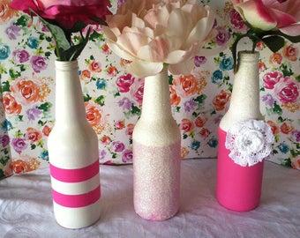 Pink & White Upcycled Bud Vases-Set of Three