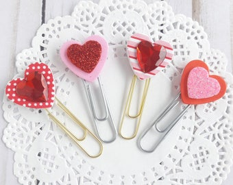 Rhinestone and Glitter Hearts on Jumbo Paperclips Planner Clip Bookmark