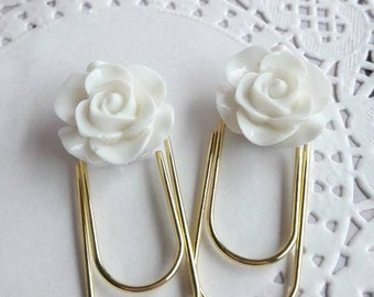 Mini White Rose Cabochon on Medium Wide Gold Paperclip Planner Clip Bookmark
