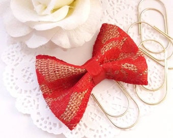 Red Lace and Burlap Bow on Wide Gold Paperclip Planner Clip Bookmark