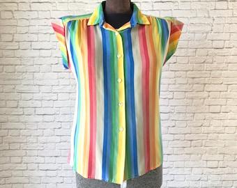 rainbow vertical stripe top, bright rainbow cap sleeve shirt, vertical stripe blouse, vibrant rainbow blouse, vertical stripe button up