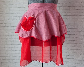 Red sheer gingham apron, ric rac apron, red vintage apron, red checkered apron, red sheer ruffle apron, dainty apron, vintage half apron