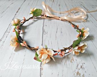 Peach Flower crown Rustic Woodland Wedding Boho Hair wreath Bridal headpiece headband Maternity Bridesmaid Flower girl Halo baby Newborn