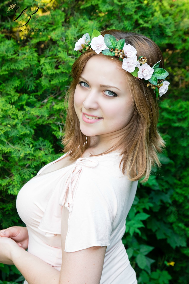 White Flower crown Boho Woodland wedding Ivory Bridal shower headpiece wreath Halo baby Newborn headband Maternity Flower girl Bridesmaids
