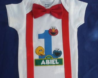 Sesame Street Birthday Onesie Elmo Cookie Monster