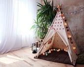 DEEP ROSE small triangles Tipi, Tipi tent, tipi, kids tipi, tipi kids, tent, play tent, play house, kids teepee, canvas tipi, hand print