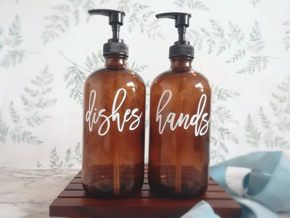 Soap dispenser bottles for dishes hands, farmhouse kitchen decor minimalist  home, custom valentine\'s day gift for wife housewarming gift set