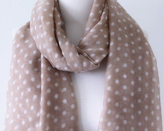 Soft Elegant Long Wrap Scarves / Sand Beige and White / Elephant Gray / Polka Dot Spring Summer Scarf / Women Scarves