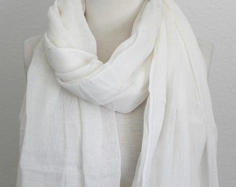 d7f3d22d16a 100% Pure Cotton Scarf Lightweight Gauze Extra Long Wrap Ivory White Cotton  Scarf Large Snow White Shawl Womens Mens Scarf