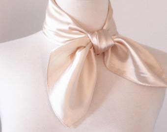 White Solid Color Square Scarves / Soft Silk Head Scarf / Scarf Headband / Pearl White Solid Color / Retro Vintage Wide Head Wrap /Bandanas