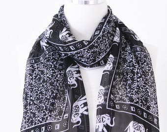 Soft Elegant Long Wrap Scarves / Elephant Print Scarf / Black and White / Women Scarves / Accessories / Handmade