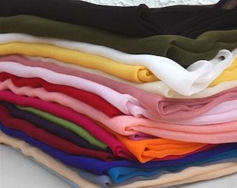 100% Silk Chiffon Scarf/Lightweight Long Silk Wrap/Very Sheer Silk Scarf/Black, White, Red, Gray, Green, Beige, Pink, Blue Silk Scarves