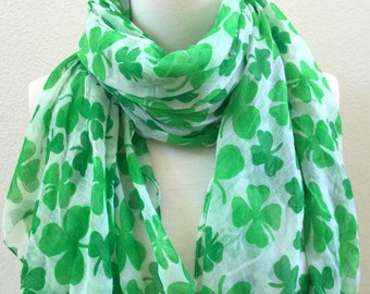 a0957a1ae Soft Long Wrap Scarves/Shamrock Scarf/Clover Leaf Scarf/Green and White/Spring  Summer Scarf/Lightweight Women Scarf/St Patricks Day Scarf
