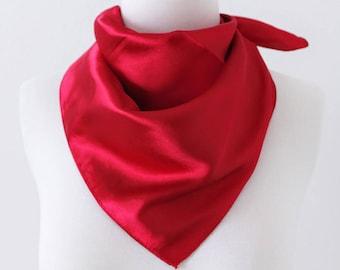 469602830 Red Square Scarves / Soft Silk Head Scarf / Scarf Headband / Red Solid Color  / Retro Vintage Wide Head Wrap / Bandanas