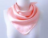 Pearl Pink Square Scarves Soft Silk Head Scarf Scarf Headband Pink Solid Color Retro Vintage Wide Head Wrap Bandanas