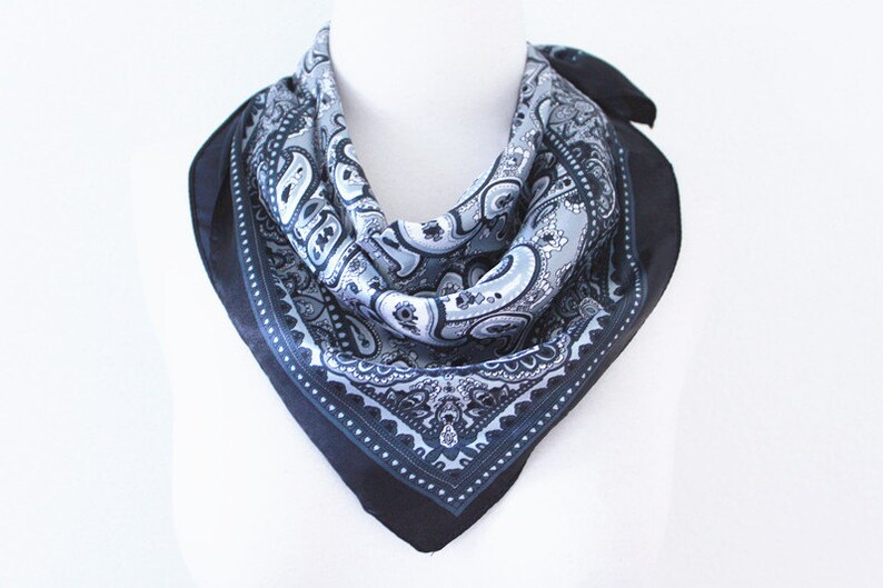 9be74d53a8 Paisley Print Square Scarves / Soft Silk Head Scarf / Scarf Headband /  Black and White / Retro Vintage Wide Head Wrap / Bandanas