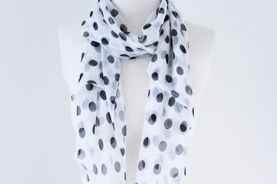 New Fashion Black White Polka Dot Soft Women/'s Chiffon Scarf Wrap Shawl Stole