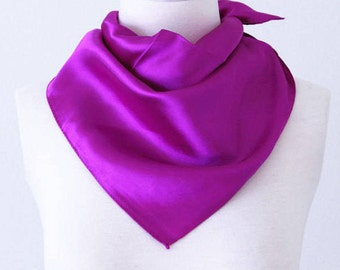 Violet Purple Square Scarves / Soft Silk Head Scarf / Scarf Headband / Purple Solid Color / Retro Vintage Wide Head Wrap / Bandanas