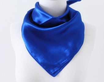 Sapphire Blue Square Scarves / Soft Silk Head Scarf / Scarf Headband / Blue Solid Color / Retro Vintage Wide Head Wrap / Bandanas