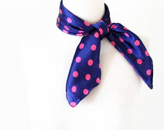 Polka Dot Square Scarves / Soft Silk Head Scarf / Scarf Headband / Purple and Pink / Retro Vintage Wide Head Wrap / Bandanas