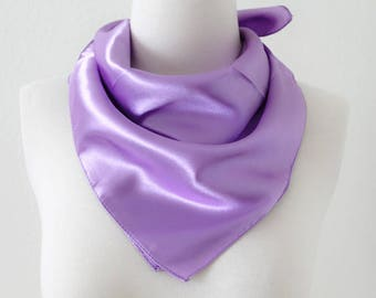 Lavender Purple Square Scarves / Soft Silk Head Scarf / Scarf Headband / Purple Solid Color / Retro Vintage Wide Head Wrap / Bandanas