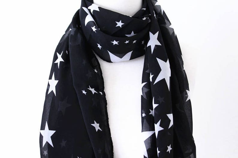 bca0bd656 Soft Elegant Long Wrap Scarves / Black and White / White Star | Etsy