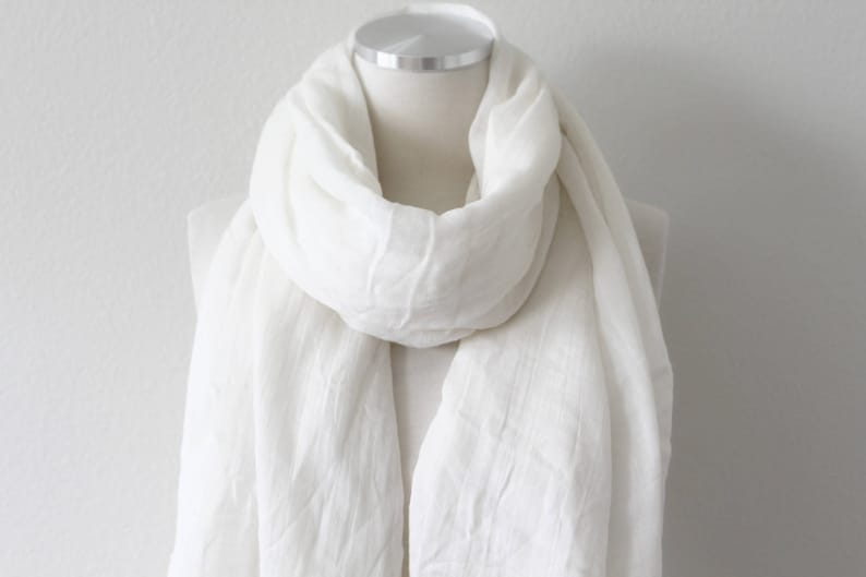 c794709c043 100% Pure Cotton Scarf/Lightweight Gauze/Extra Long Wrap/Ivory White Cotton  Scarf/Large Snow White Shawl/Womens Mens Scarf