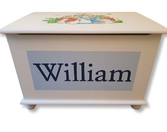 Classic Peter Rabbit Toy Box - Fully customised, personalised and all artwork painted by hand