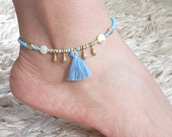 Bohemian Turquoise Silver Swirl Bell Anklet Ankle Bracelet Gift For Woman Gypsy Hippy Foot Jewelry Birthday Gift For Girl Friend
