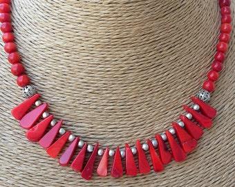 coral, coral necklace, korallenkette, stylish necklace, beaded necklace, Drop necklace