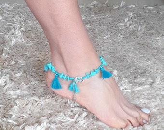 turquoise anklet, tassel anklet, elephant anklet, Gypsy, blue, Adjustable anklet, foot bracelet, Gift,beach,summer jewelry,Bohemian
