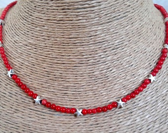 coral, coral necklace, star necklace,korallenkette, stylish necklace, beaded necklace