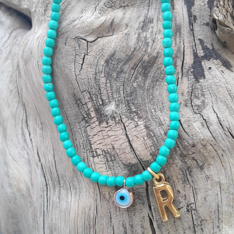 foot bracelet Adjustable summer jewelry Protection Name-Personalized-Custom Initial Anklet unisex Turquoise-Evil Eye anklet