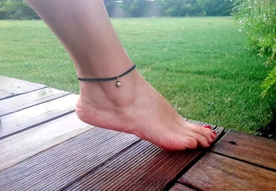 gift for man and women fish anklet foot bracelet Protection summer jewelry luck crystal black anklet,boho Hamsa Hand Evil eye