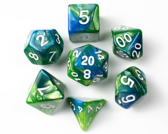 Algae Bloom | Blue & Green Swirled Acrylic Dice Set (7) | Dungeons and Dragons (DnD)