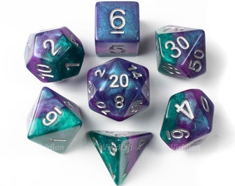 Solar Wind | Blue, Purple, Green Swirled with Glitter Acrylic Dice Set (7) | Dungeons and Dragons (DnD)