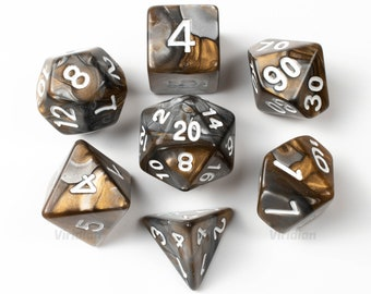 Mined Ore | Grey, Gold & Silver Swirled Acrylic Dice Set (7) | Dungeons and Dragons (DnD)