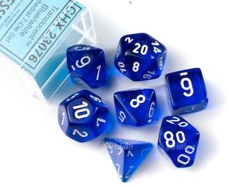 Translucent Blue & White | Chessex Dice Set (7)