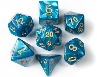 Warm Seas | Teal Blue Swirled Acrylic Dice Set (7) | Dungeons and Dragons (DnD)