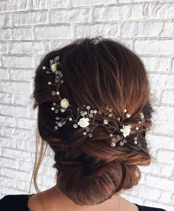 Rose Gold Hair Vine Floral Hair Piece Bride Wedding Hair Etsy