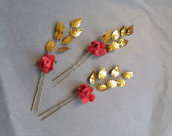 Beauty and the beast inspired Red roses hair piece Gold leaf hair pins Bridal hair accessory Flower hair comb Fall Belle halloween