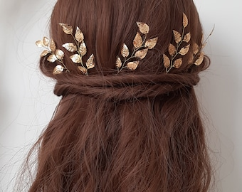Belle hair piece Gold leaf hair comb Red bridal hair accessories Beauty and the beast wedding Fall wedding elegant delicate leaves headpiece