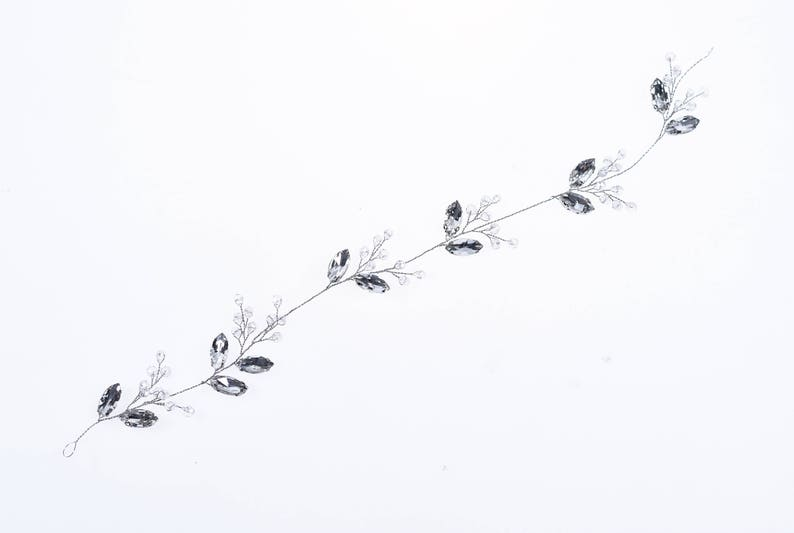 Bride Headpieces Leaf hair vine crystal silver