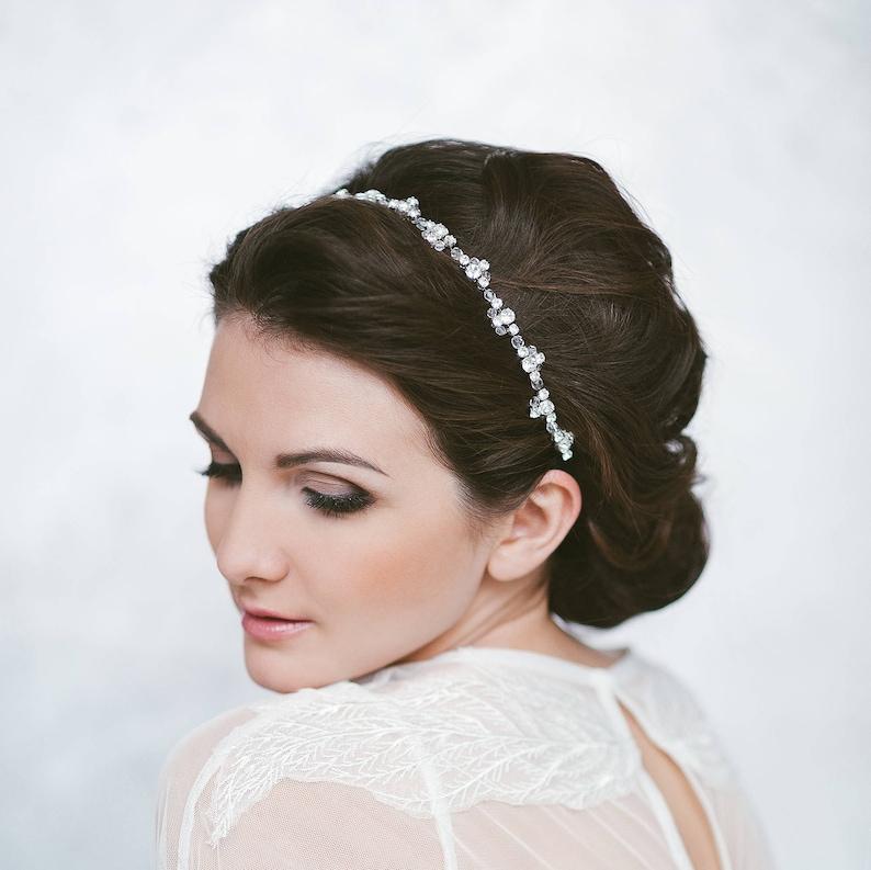 3b0543901 Wedding headband Bride hair piece Thin bridal headpiece