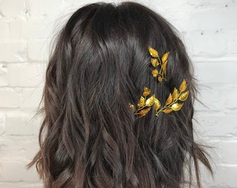 Belle Gold hair piece Leaf hair pin Beauty beast cosplay costume Set of hair pins Bridal hair accessories Fall wedding hair styling pin clip