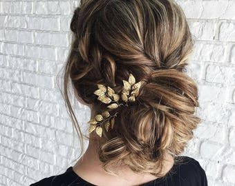 Beauty and the beast Wedding hair piece Bridal hair accessories hair comb Gold leaf hair pins Flower girl gift Fall wedding hair piece Gold