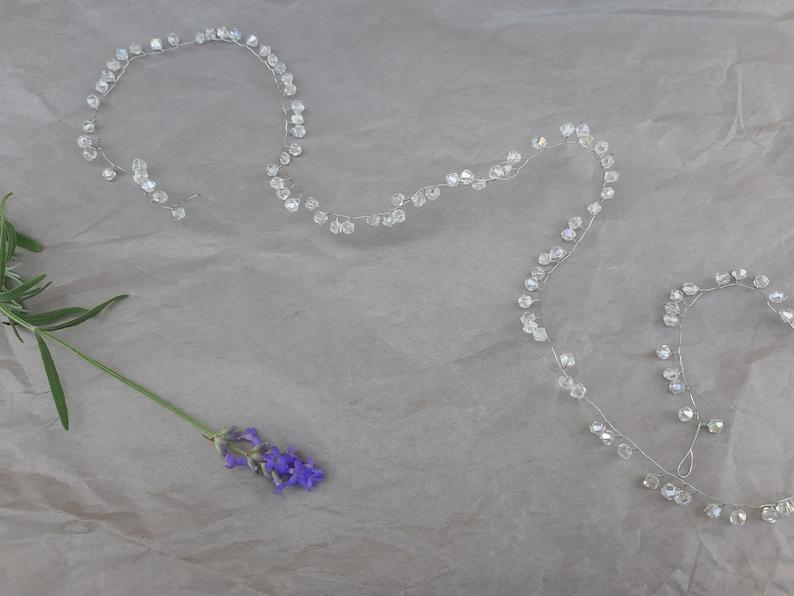 Bridal hair vine Classic blue Wedding hair piece Thin hair jewelry Prom hair Modern bride Wife gift Elegant bridesmaid
