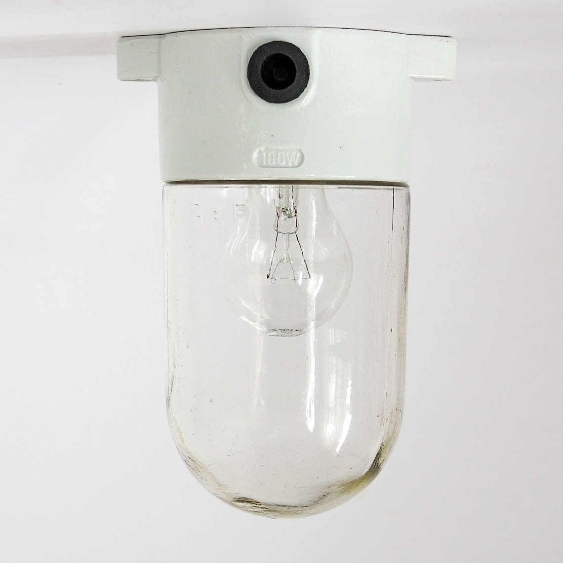 Vintage Mid-Century Bauhaus Style Ceiling/Wall Cylinder Porcelain Lamp. Made in Germany - Eclairage